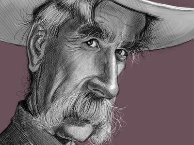 Sam Elliott Caricature