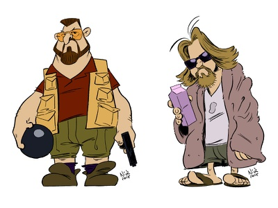 Walter and the Dude big lebowski the dude cartoon illustration