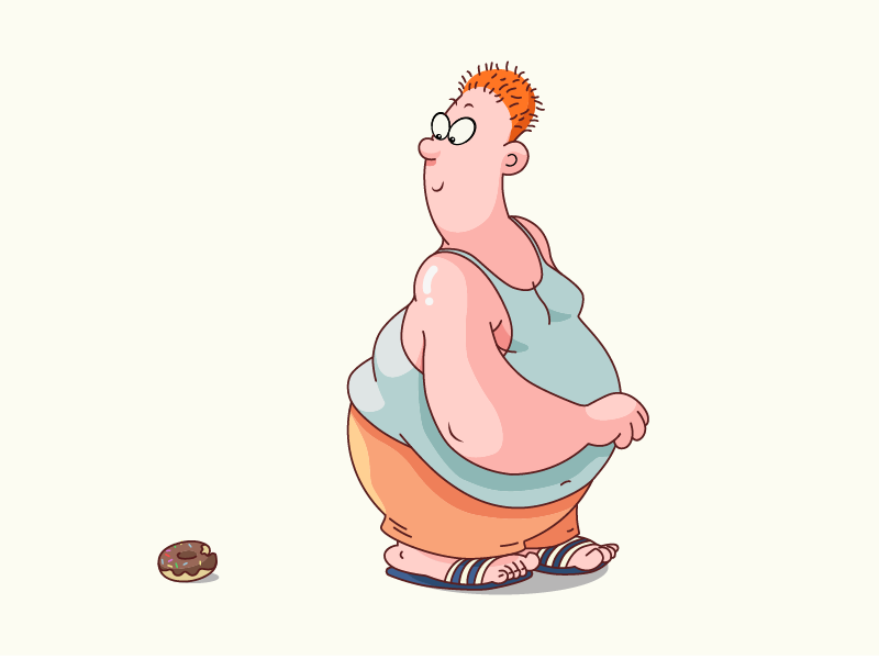 Man sees donut adobe illustrator illustrator vector-illustration vectorart illustration