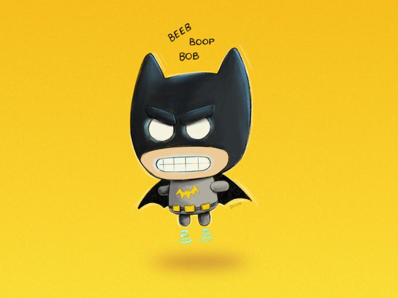 RoboBat weekly challenge weekly warm-up digital painting cartoon comic illustration robot characterdesign batman