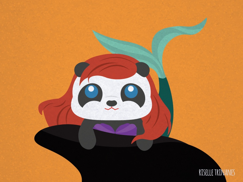 Ariel little mermaid vector simple panda october illustration halloween doodle cute creataday