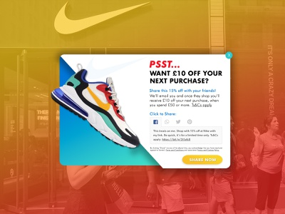 Nike Discount Lightbox Design adobe illustrator web webdesign design discount voucher lightbox nike