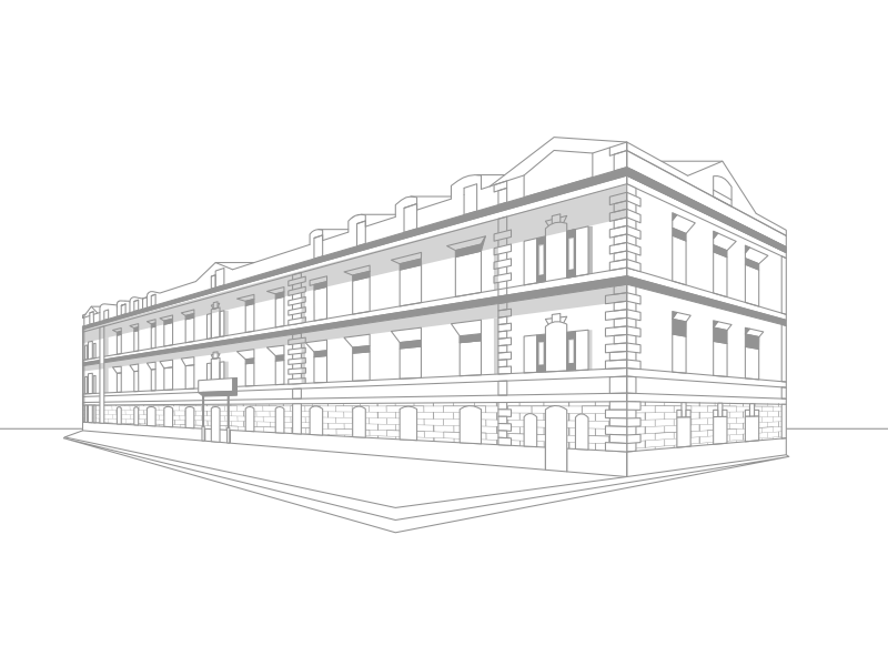 Illustration for CBRE Ukraine. real estate minimal architecture building illustration line art