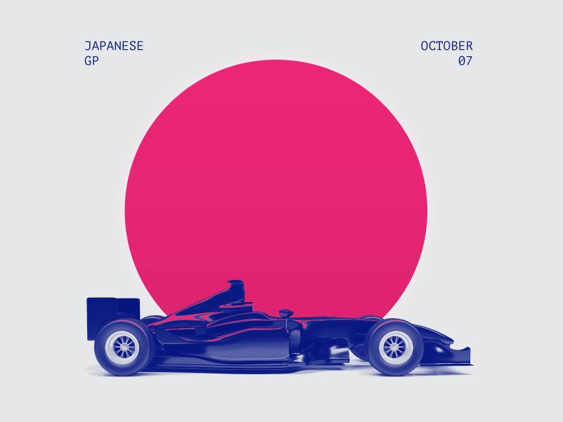 Tribute to Japanese Grand Prix in fall. illustration aesthetics neon sun minimal japan racing race formula one formula