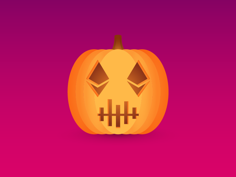 Crypto Halloween Pumpkin orange pumpkin scary holiday cryptocurrency blockchain halloween ethereum crypto