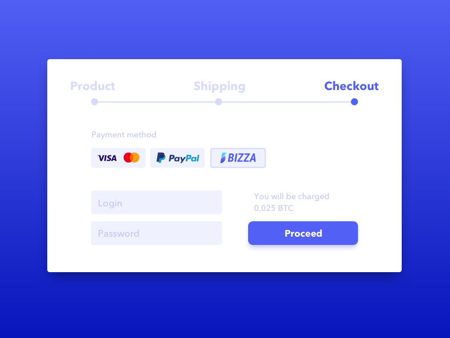 Presentation of upcoming logo. wip purchase btc bitcoin crypto checkout payment interface uiux ui