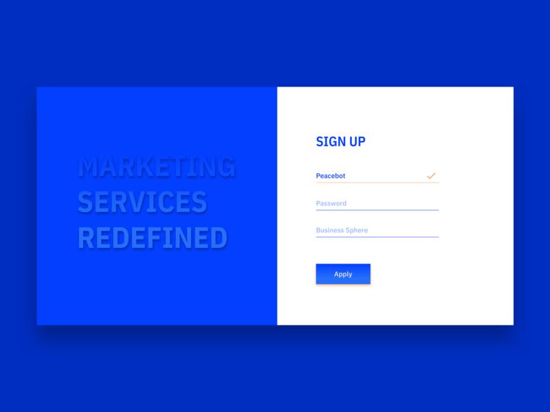 Sign Up. Marketing Service. sign up signup marketing service service dailyui ui marketing