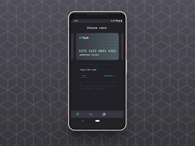 Card Checkout android dark theme stealth secure checkout payment uxui ux ui dailyui