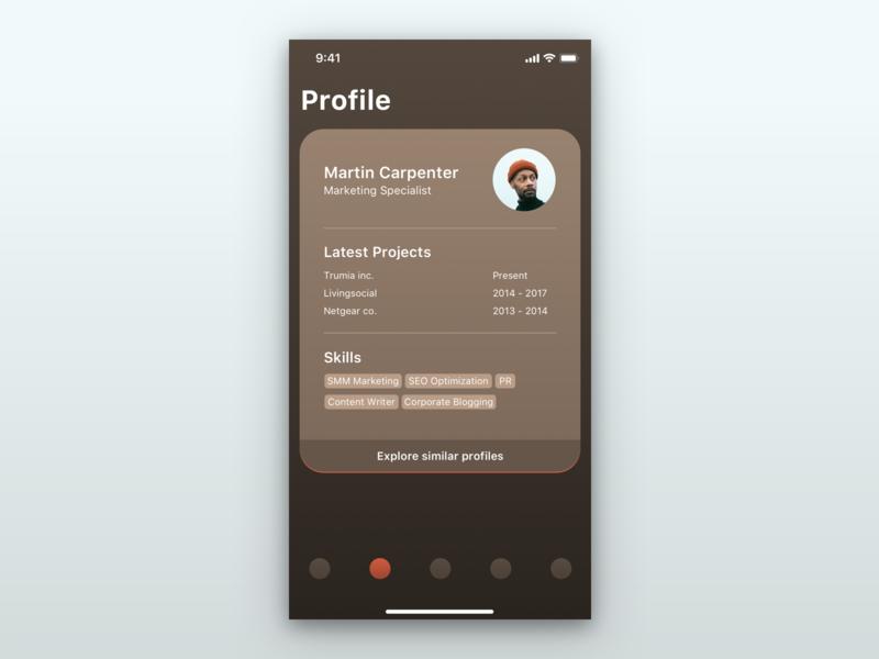 Profile Ui profile resume iphone cv mobile ui mobile ios dailyui ui ux uxui