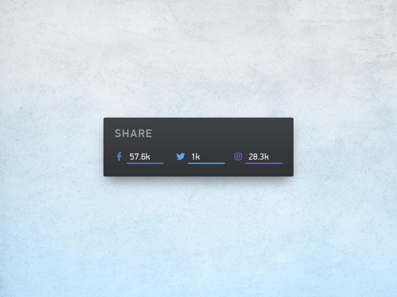 Social Share Ui button darkui dark share social buttons social uxui ui dailyui minimal