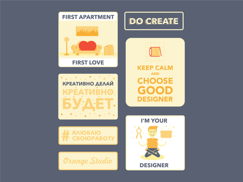 Sticker Pack for Interior design agency playful orange design agency apartment funny friendly keep calm interior design creative sticker pack sticker