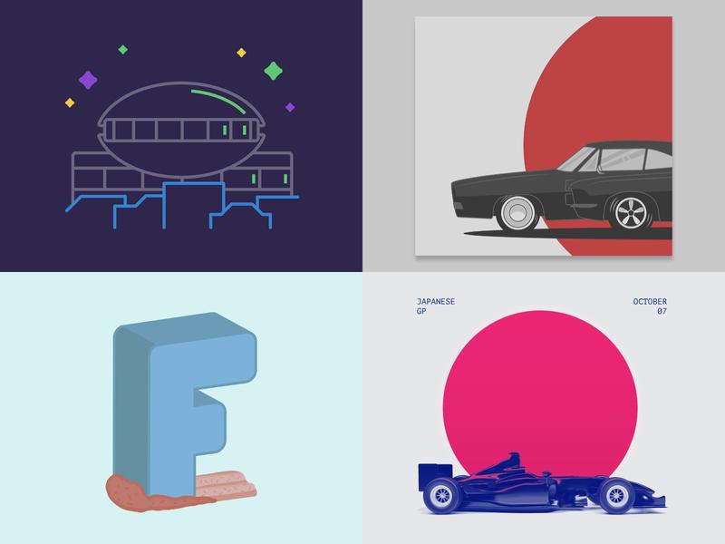 2018 Dribbble Review letter cars 2018 achievement dribbble review