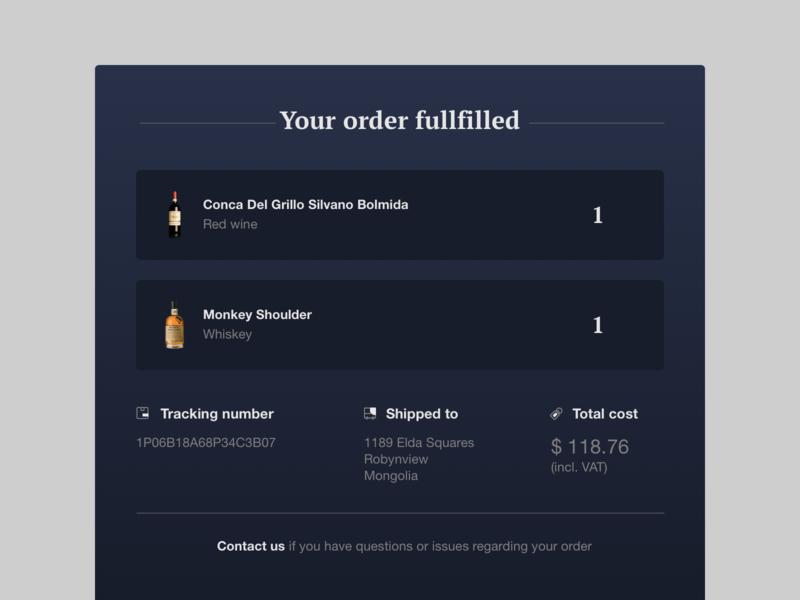 Email Letter Ui. dailyui interface dark darkui clean ecommerce payment alcohol beverage elegant uxui ui e-mail sketch