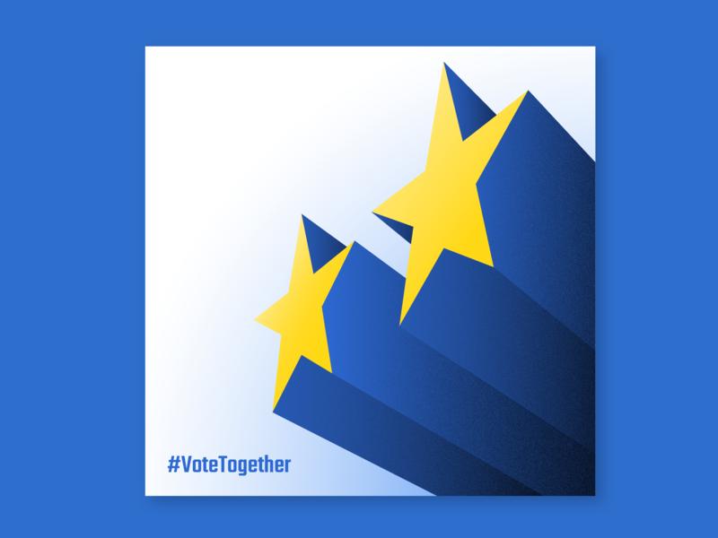 #VoteTogetherEU Illustration elections campaign hashtag clean political stars vote europe eu poster minimal illustration