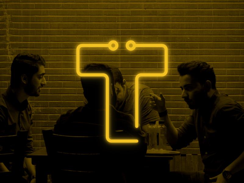 Technow Logo typogaphy minimal website logotype logo lettermark t neon circuit yellow monogram blog tech