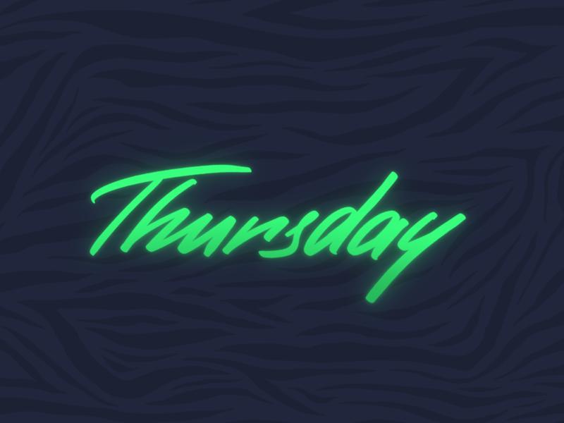 Thursday. Lettering in color. brushpen calligraphy type zebra rad glow neon synthwave retrowave retro outrun procreate handlettering lettering 80s