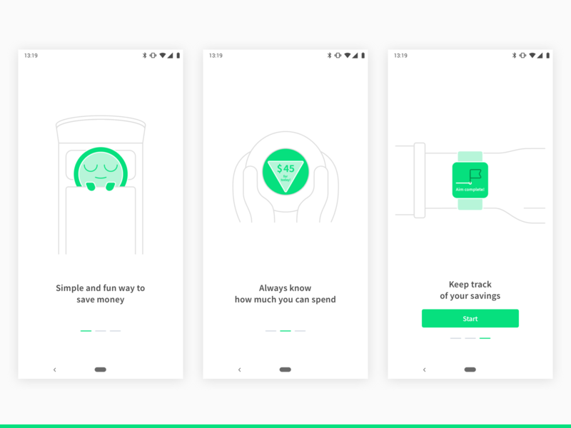 Onboarding. BudgetBuddy Concept App emotional minimal fun android app ui mobile illustration expenses savings personal finance finance fintech budget