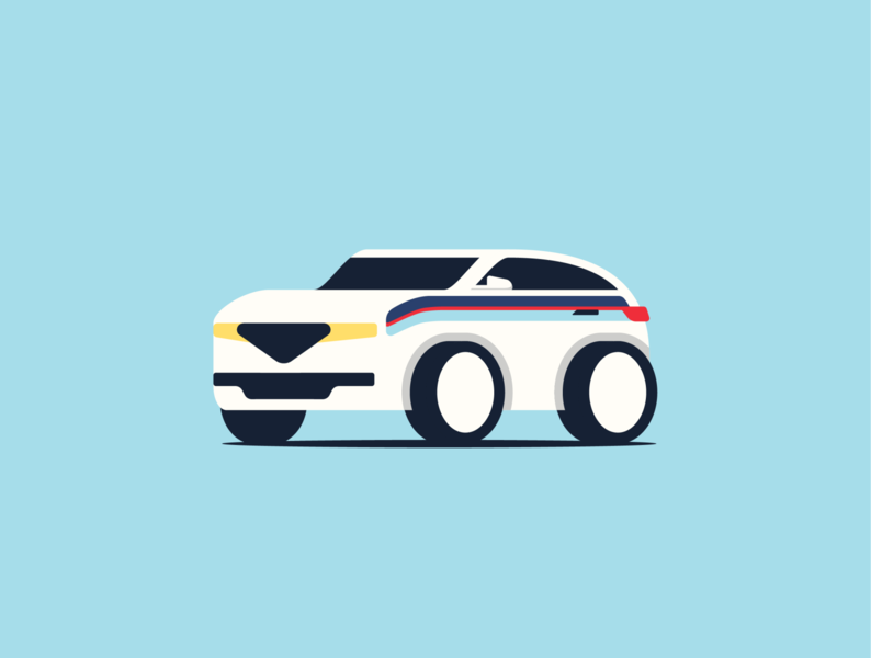 Martini SUV Illustration. minimal automotive suv racing martini car cute illustration
