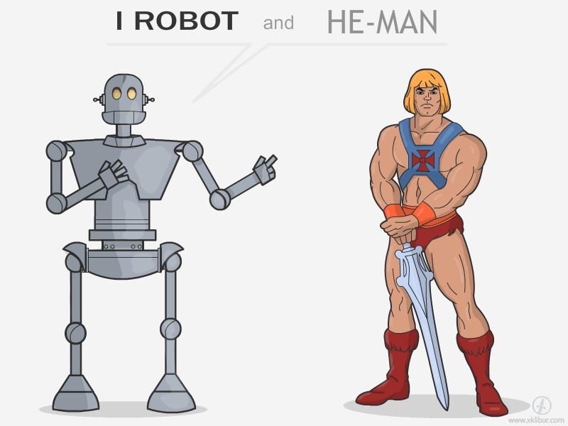 I Robot and He-Man shirt humor cartoon heman robot