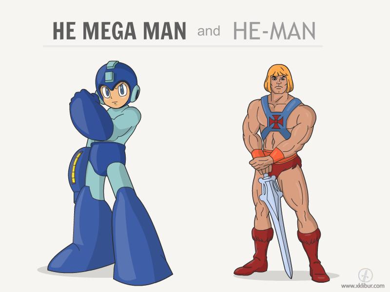 He Mega man and He-Man vector heman megaman shirt cartoon