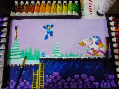 Mega Man megaman games video games painting acrylic drawing paint