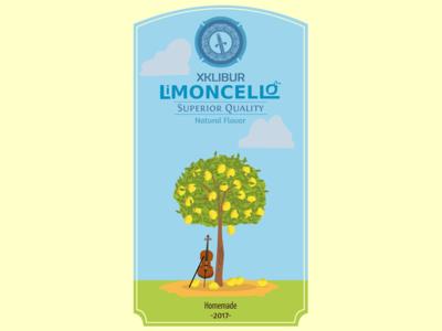 Limoncello label logo drink illustration lemon cello homemade liquor limoncello