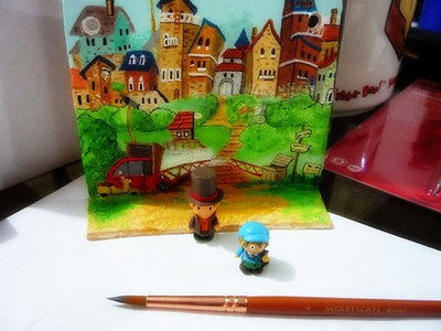 Professor Layton wall Ornament handmade ornament professor layton games acrylic paint videogames modeling clay