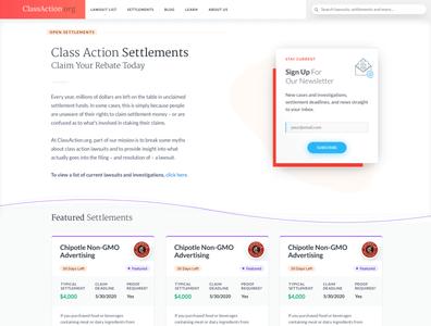 ClassAction.org Settlements Card List web design redesign card design clean simple law
