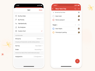 Todoist Sorting Options sorting todoist ios design mobile productivity todo app ui