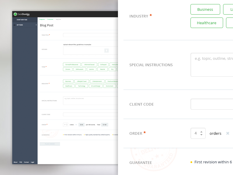 Start new task form redesign
