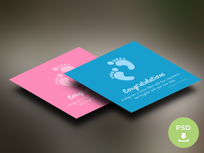 PSD Freebie Baby Congratulations Card