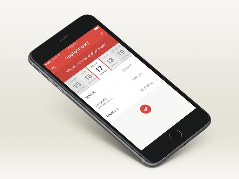 Task Booking App calendar booking iphone ui app mobile ios