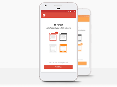 Todoist Theme Picker onboarding picker theme todo ui mobile app android