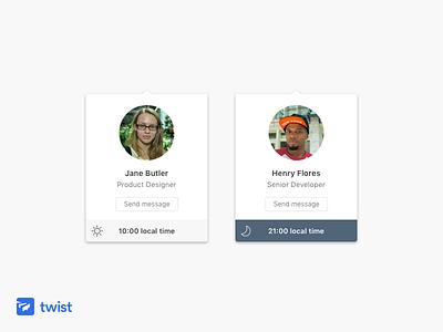 Twist Profile Cards mac ui card profile app communication team