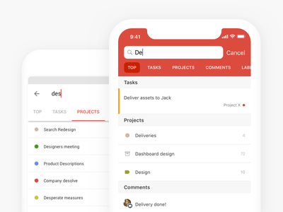 Todoist Search Reimagined tabs android ios ui todoist todo productivity search app