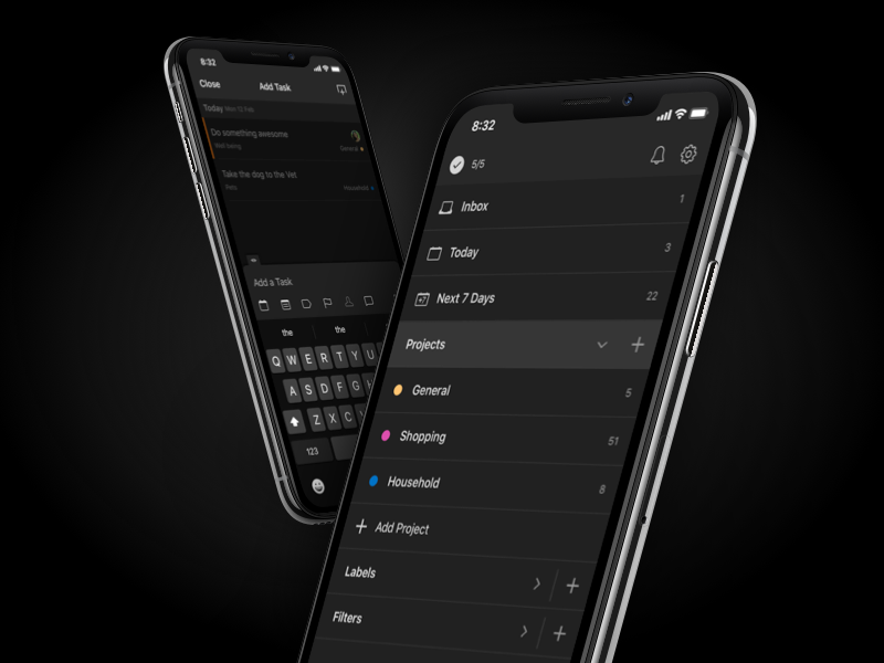 Todoist Dark Theme productivity todo dark theme ios android mobile design app ui