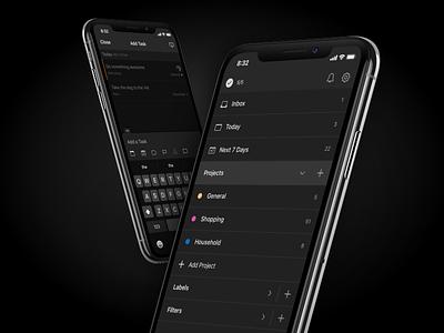 Todoist Dark Theme productivity todo dark theme ios android mobile design app ui