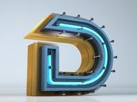 c4d neon font D