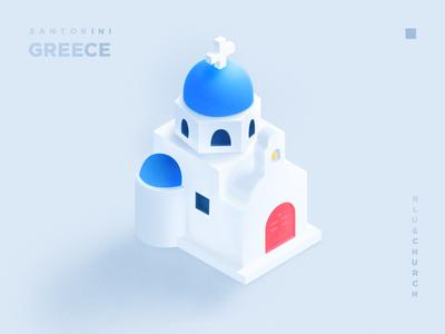 Santorini bule church santorini greece illustration 3d