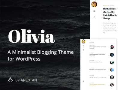 Olivia WordPress Theme typography black white simple clean layout blog themeforest minimalist wordpress