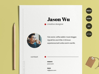 Creative Resume with Cover Letter anestan cover cover letter letterhead job handcrafted white curriculum vitae cv a4 us letter simple clean minimal design beautiful resume creative words indesign