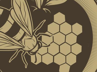 Bee/Apple Client Logo WIP bee apple logo wip honeycomb honey bee seventhfury matthew johnson illustration vector design brown gold