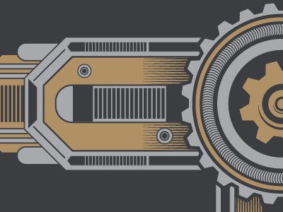 Robotic Elements WIP robot gear vector design illustration mechanics seventhfury gold gray silver matthew johnson