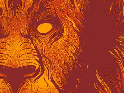 Burning Lies Reinked Detail lion shirt design illustration fire maroon gold seventh.ink seventhfury matthew johnson