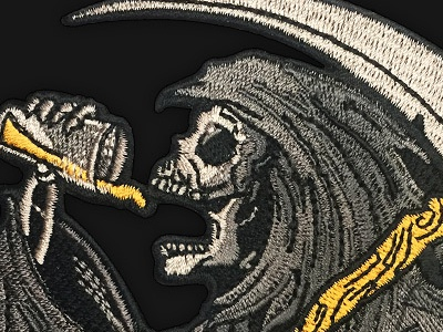 Drinkin Reaper Patch ipa pint beer grim reaper death reaper matthew johnson seventhink embroidery illustration patchgame patch