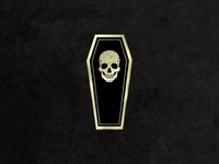 Black/Gold Enamel Coffin Pin