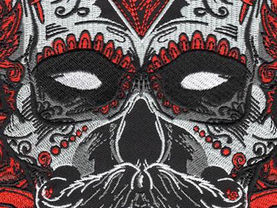Debonair Sugar Skull Back Patch skull hipster mustache day of the dead sugar skull embroidery art matthew johnson seventhink illustration patchgame patch