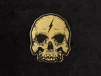 Gold Lightning Skull Enamel Pin