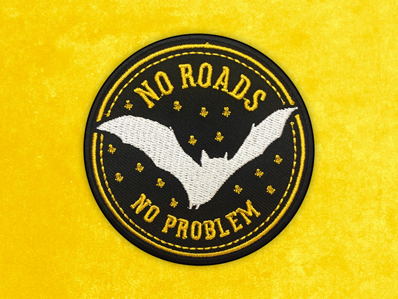 No Roads, No Problem Embroidered Patch bat brand badge embroidery art matthew johnson seventhink illustration patchlife patchgame patch