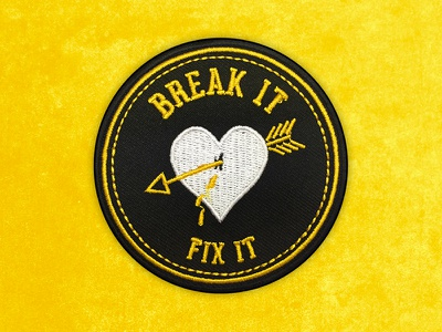 Break It, Fix It Embroidered Patch arrow heart brand badge embroidery art matthew johnson seventhink illustration patchlife patchgame patch